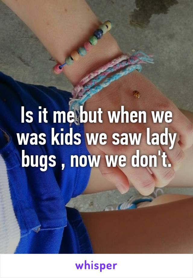 Is it me but when we was kids we saw lady bugs , now we don't.