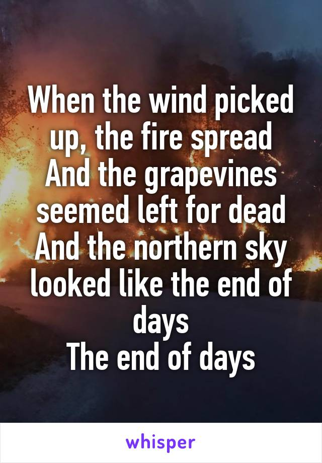 When the wind picked up, the fire spread And the grapevines seemed left for dead And the northern sky looked like the end of days The end of days