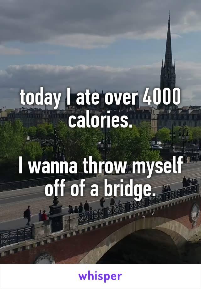 today I ate over 4000 calories.  I wanna throw myself off of a bridge.