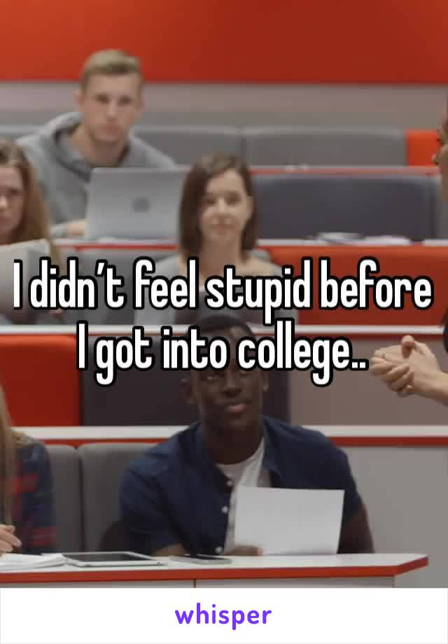 I didn't feel stupid before I got into college..