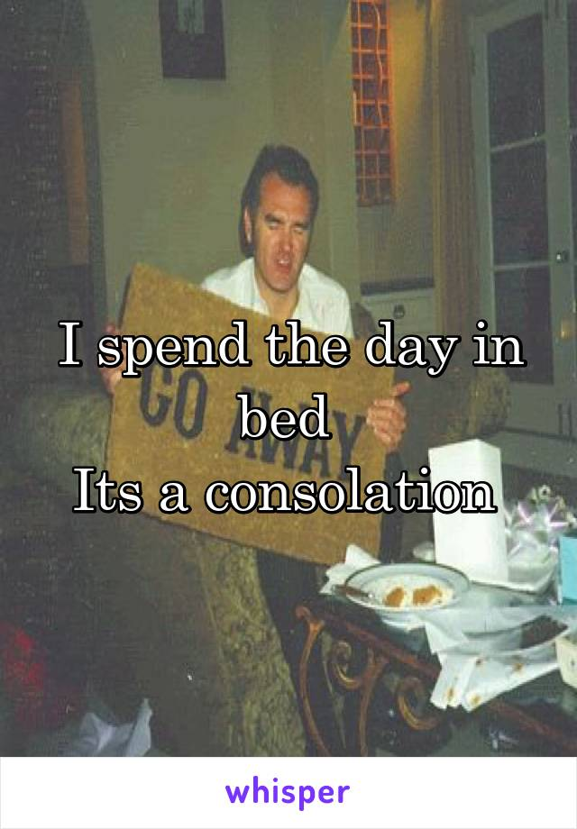 I spend the day in bed  Its a consolation