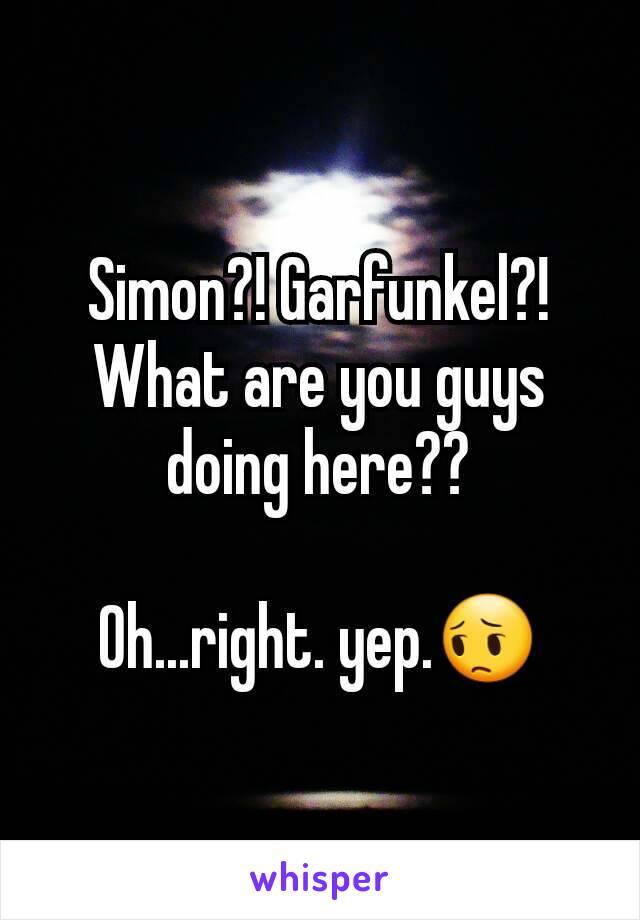 Simon?! Garfunkel?! What are you guys doing here??  Oh...right. yep.😔