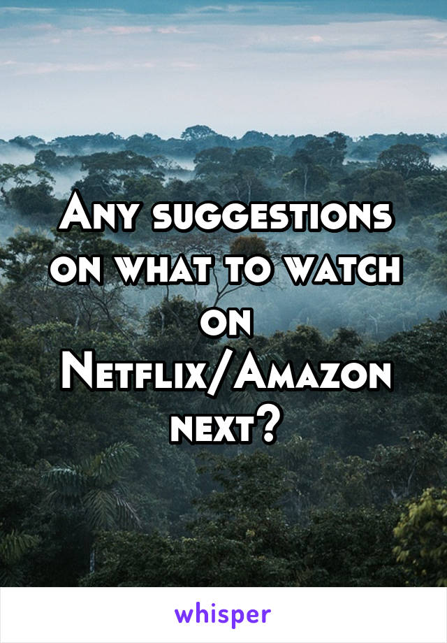 Any suggestions on what to watch on Netflix/Amazon next?