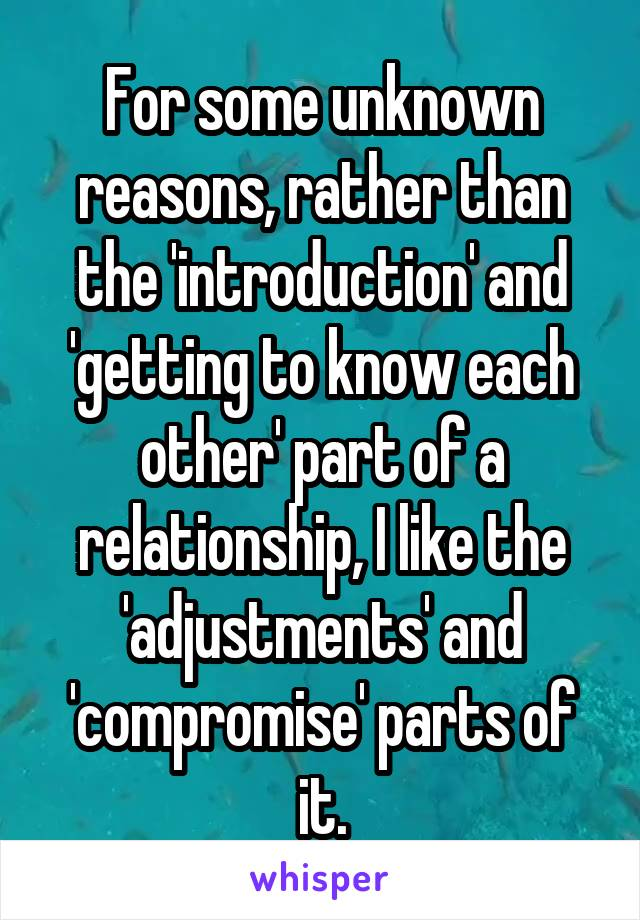 For some unknown reasons, rather than the 'introduction' and 'getting to know each other' part of a relationship, I like the 'adjustments' and 'compromise' parts of it.