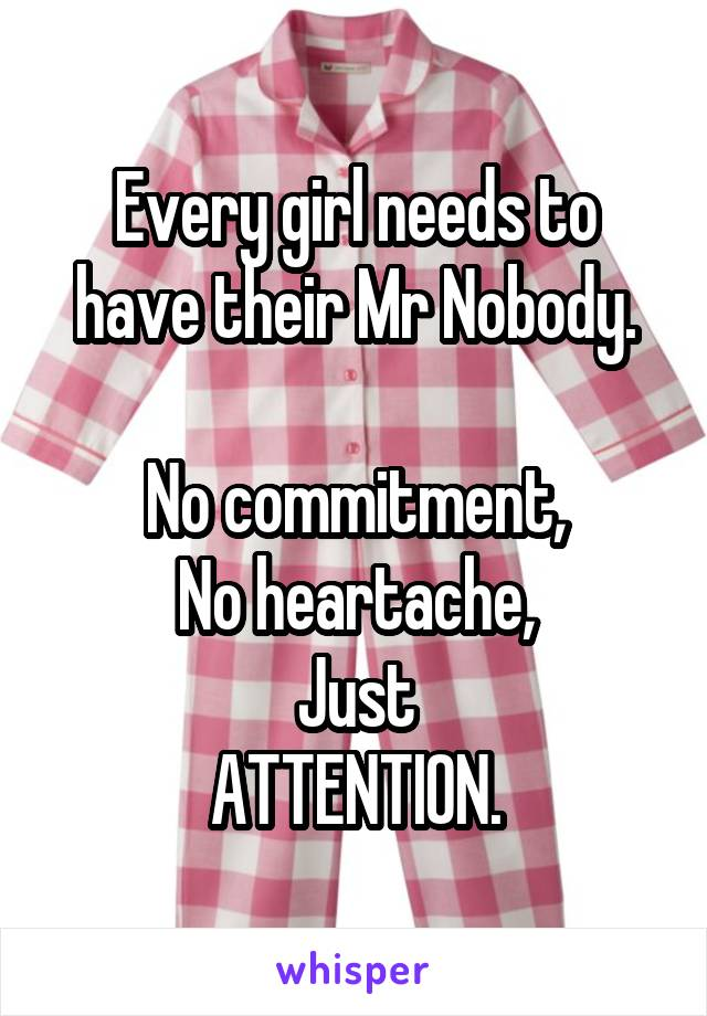 Every girl needs to have their Mr Nobody.  No commitment, No heartache, Just ATTENTION.