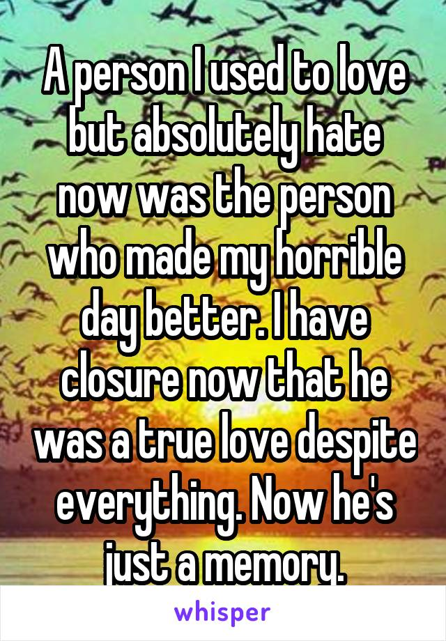 A person I used to love but absolutely hate now was the person who made my horrible day better. I have closure now that he was a true love despite everything. Now he's just a memory.
