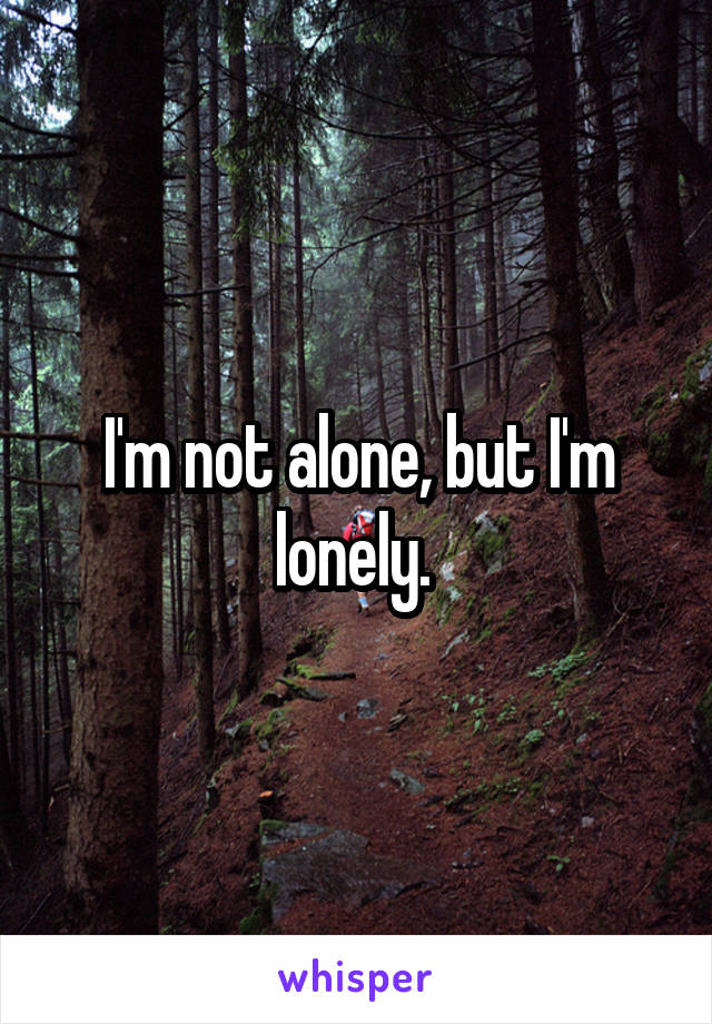 I'm not alone, but I'm lonely.