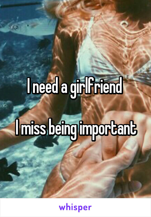 I need a girlfriend   I miss being important