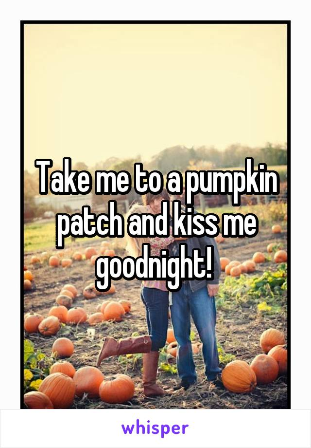 Take me to a pumpkin patch and kiss me goodnight!