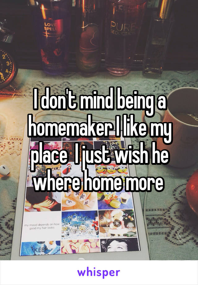 I don't mind being a homemaker I like my place  I just wish he where home more