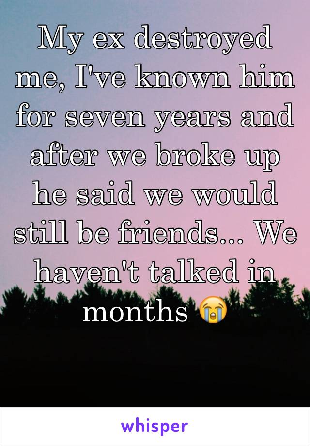 My ex destroyed me, I've known him for seven years and after we broke up he said we would still be friends... We haven't talked in months 😭