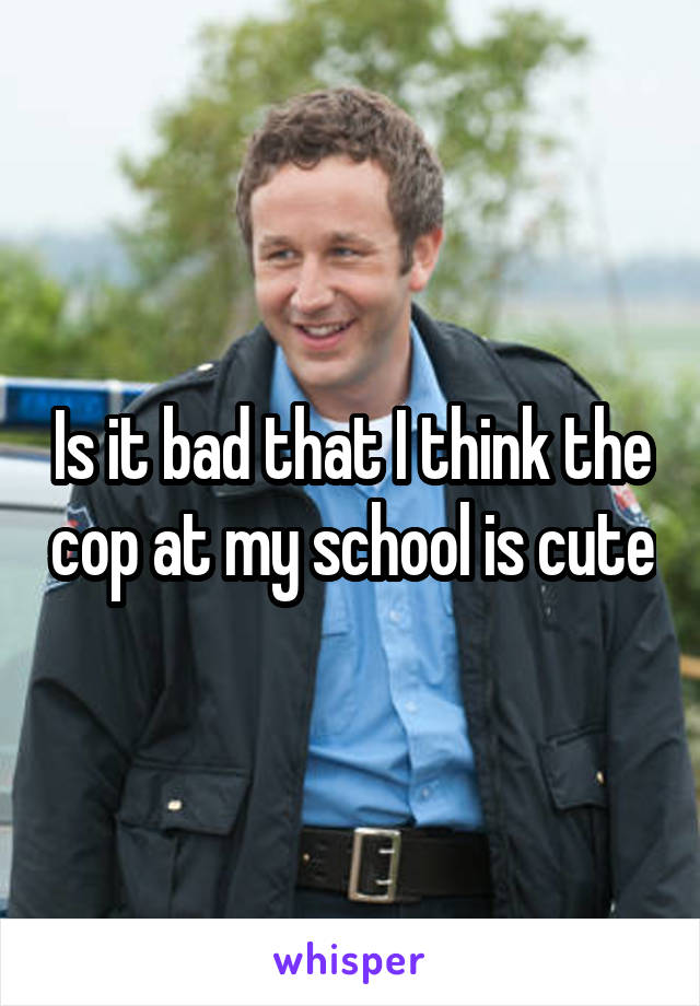 Is it bad that I think the cop at my school is cute