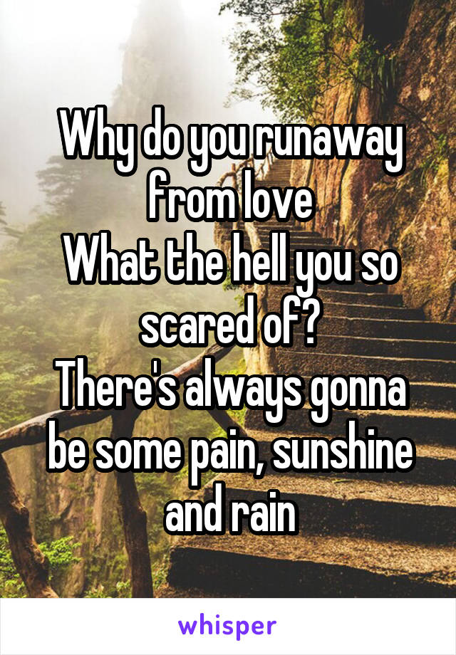 Why do you runaway from love What the hell you so scared of? There's always gonna be some pain, sunshine and rain