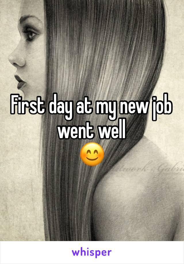 First day at my new job went well  😊