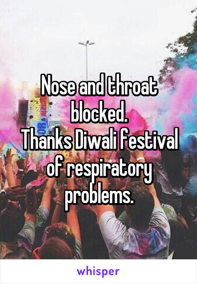 Nose and throat blocked. Thanks Diwali festival of respiratory problems.