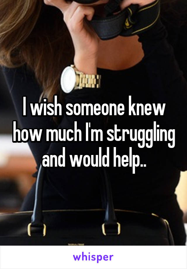 I wish someone knew how much I'm struggling and would help..