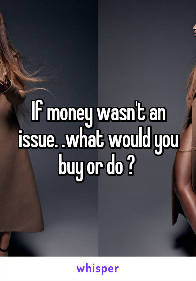 If money wasn't an issue. .what would you buy or do ?
