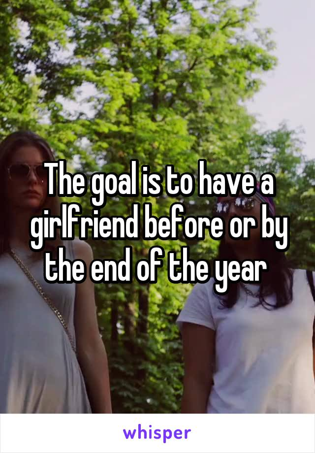 The goal is to have a girlfriend before or by the end of the year