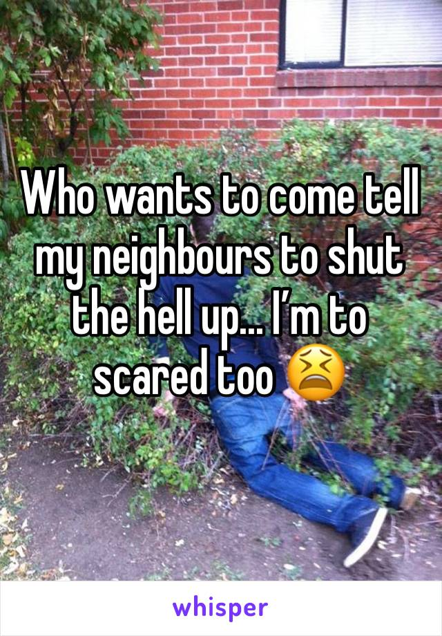 Who wants to come tell my neighbours to shut the hell up... I'm to scared too 😫