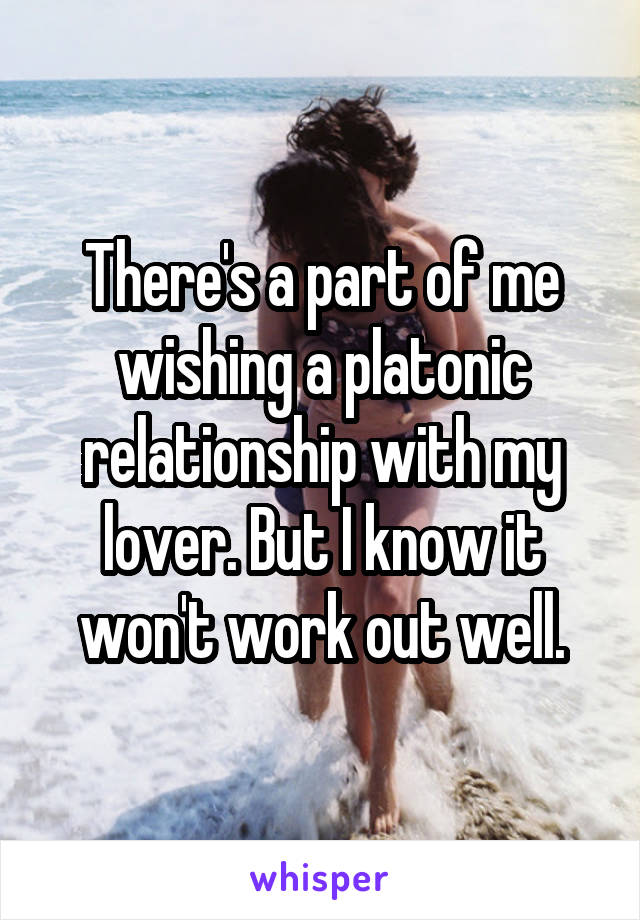 There's a part of me wishing a platonic relationship with my lover. But I know it won't work out well.
