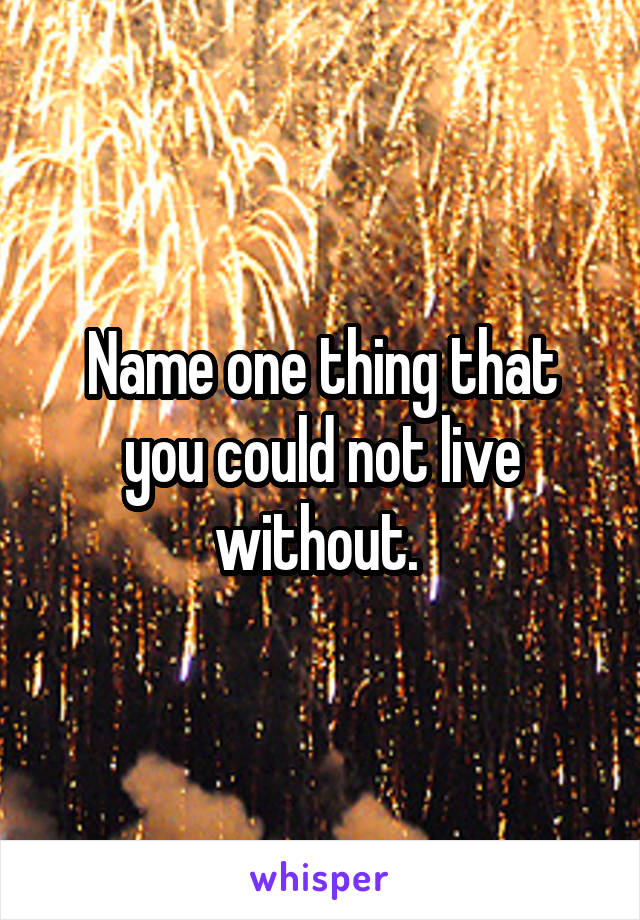 Name one thing that you could not live without.
