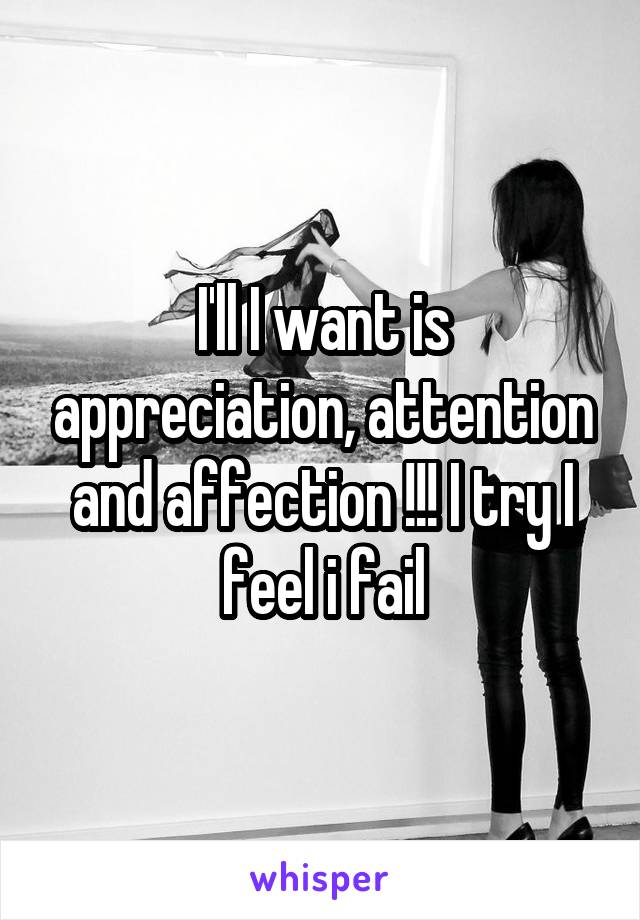 I'll I want is appreciation, attention and affection !!! I try I feel i fail