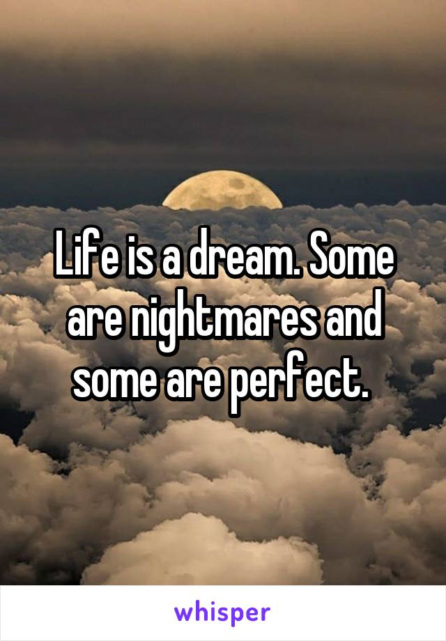 Life is a dream. Some are nightmares and some are perfect.