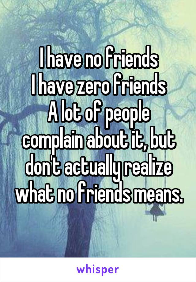 I have no friends I have zero friends A lot of people complain about it, but don't actually realize what no friends means.