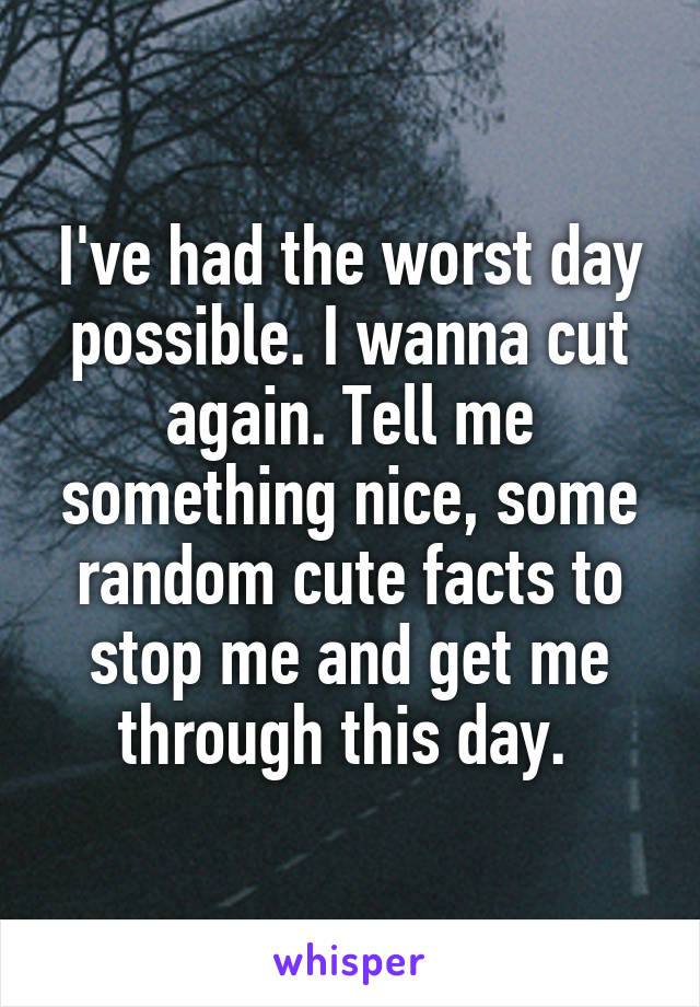 I've had the worst day possible. I wanna cut again. Tell me something nice, some random cute facts to stop me and get me through this day.
