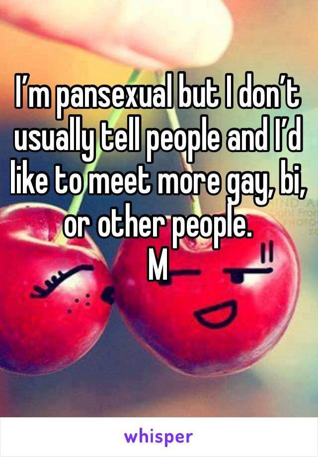 I'm pansexual but I don't usually tell people and I'd like to meet more gay, bi, or other people. M