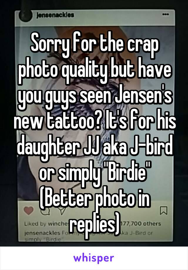 """Sorry for the crap photo quality but have you guys seen Jensen's new tattoo? It's for his daughter JJ aka J-bird or simply """"Birdie"""" (Better photo in replies)"""