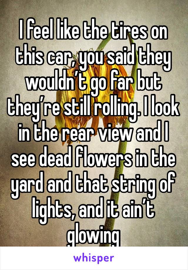 I feel like the tires on this car, you said they wouldn't go far but they're still rolling. I look in the rear view and I see dead flowers in the yard and that string of lights, and it ain't glowing