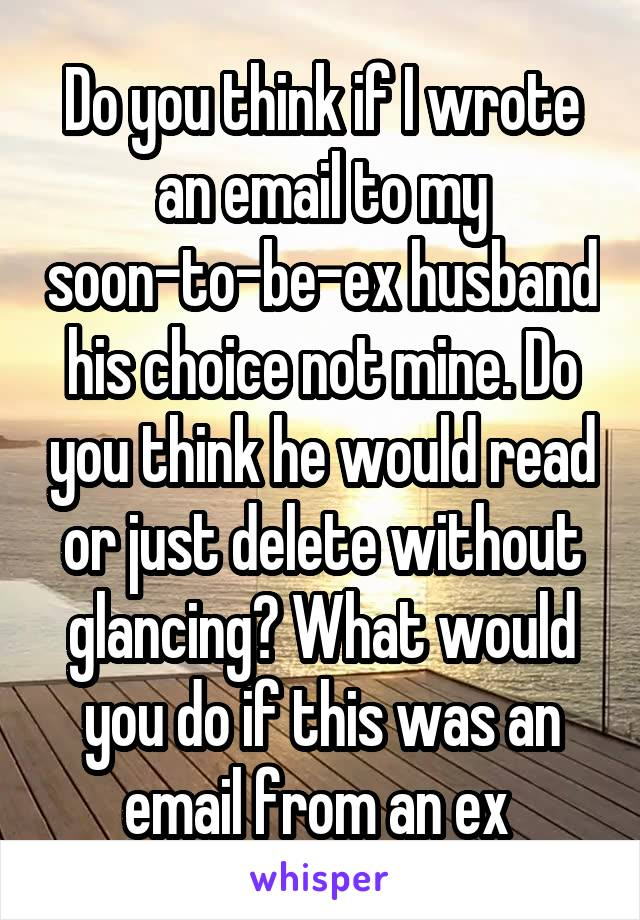 Do you think if I wrote an email to my soon-to-be-ex husband his choice not mine. Do you think he would read or just delete without glancing? What would you do if this was an email from an ex