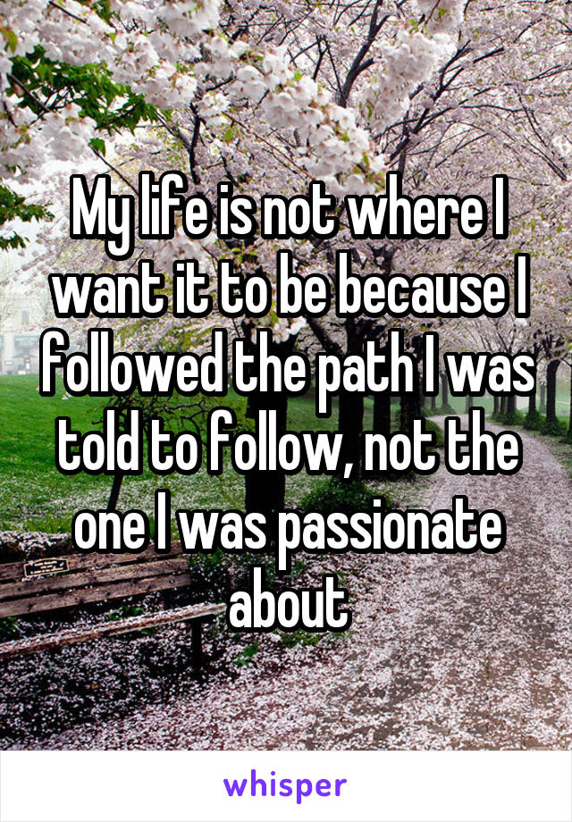 My life is not where I want it to be because I followed the path I was told to follow, not the one I was passionate about