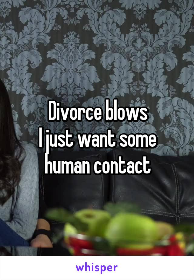 Divorce blows I just want some human contact