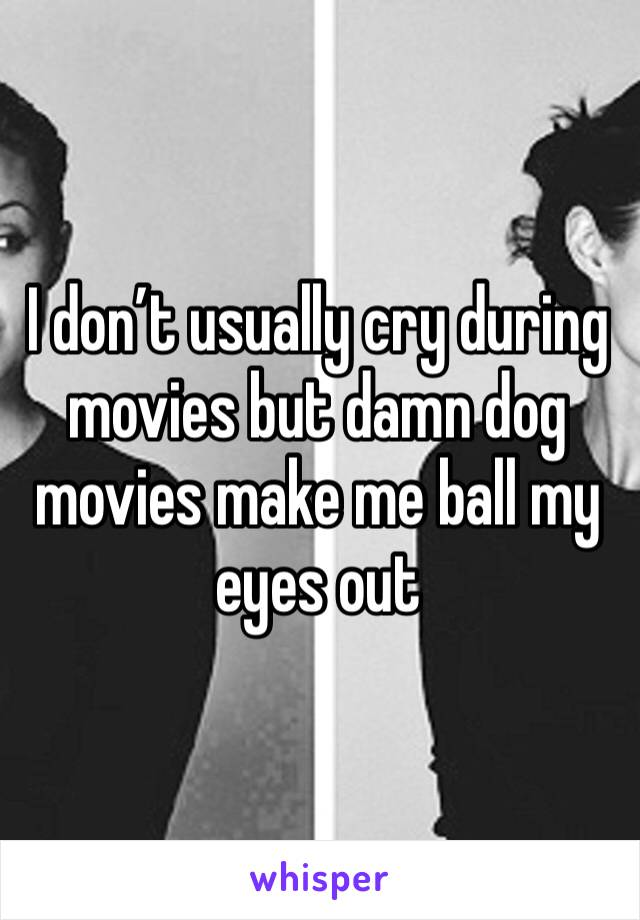 I don't usually cry during movies but damn dog movies make me ball my eyes out