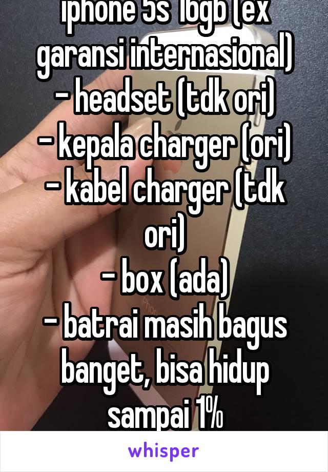 iphone 5s 16gb (ex garansi internasional) - headset (tdk ori) - kepala charger (ori) - kabel charger (tdk ori) - box (ada) - batrai masih bagus banget, bisa hidup sampai 1% - gratis case iphone 5s