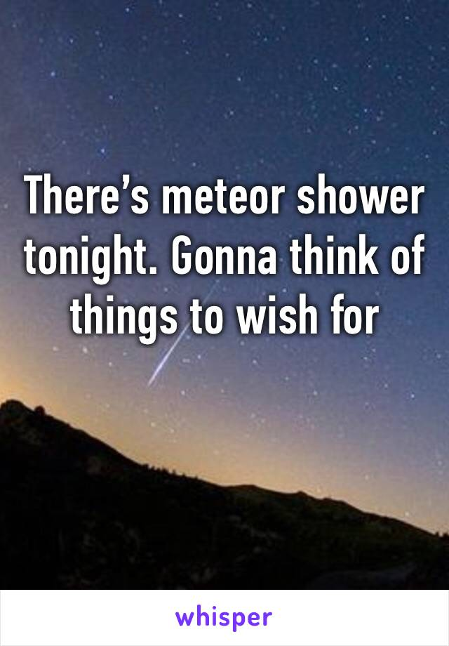 There's meteor shower tonight. Gonna think of things to wish for