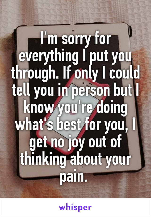 I'm sorry for everything I put you through. If only I could tell you in person but I know you're doing what's best for you, I get no joy out of thinking about your pain.