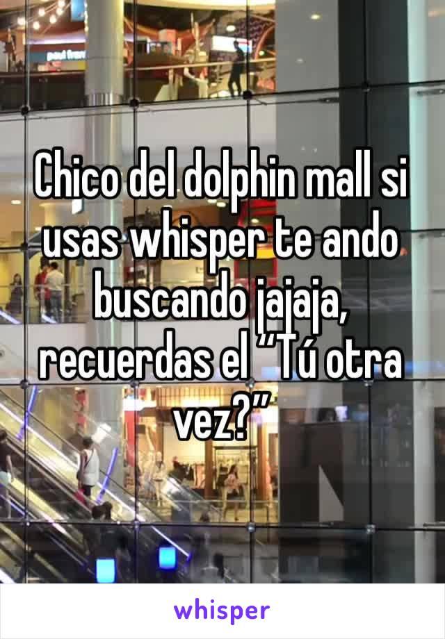 """Chico del dolphin mall si usas whisper te ando buscando jajaja, recuerdas el """"Tú otra vez?"""""""