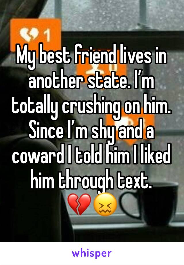 My best friend lives in another state. I'm totally crushing on him. Since I'm shy and a coward I told him I liked him through text. 💔😖