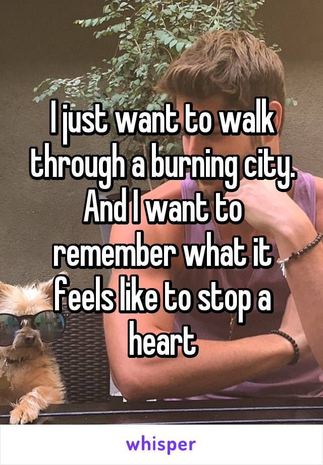 I just want to walk through a burning city. And I want to remember what it feels like to stop a heart
