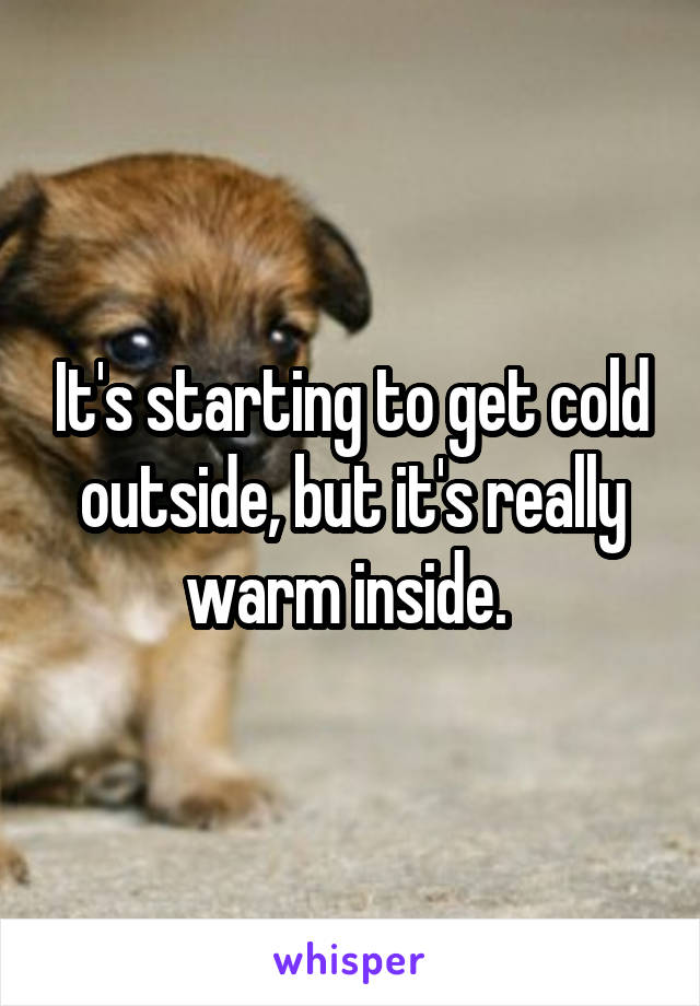 It's starting to get cold outside, but it's really warm inside.