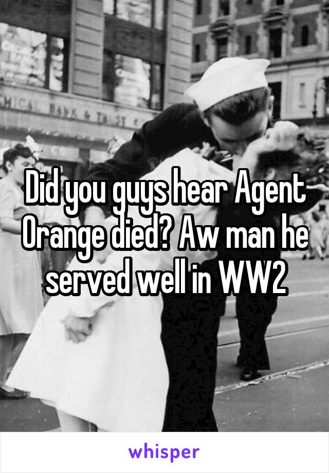 Did you guys hear Agent Orange died? Aw man he served well in WW2
