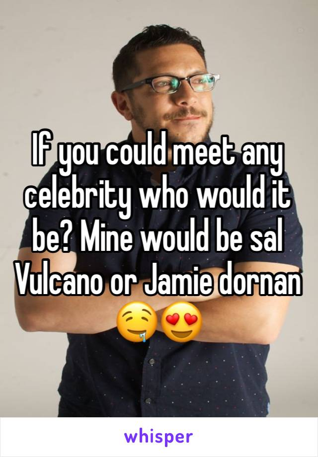 If you could meet any celebrity who would it be? Mine would be sal Vulcano or Jamie dornan 🤤😍