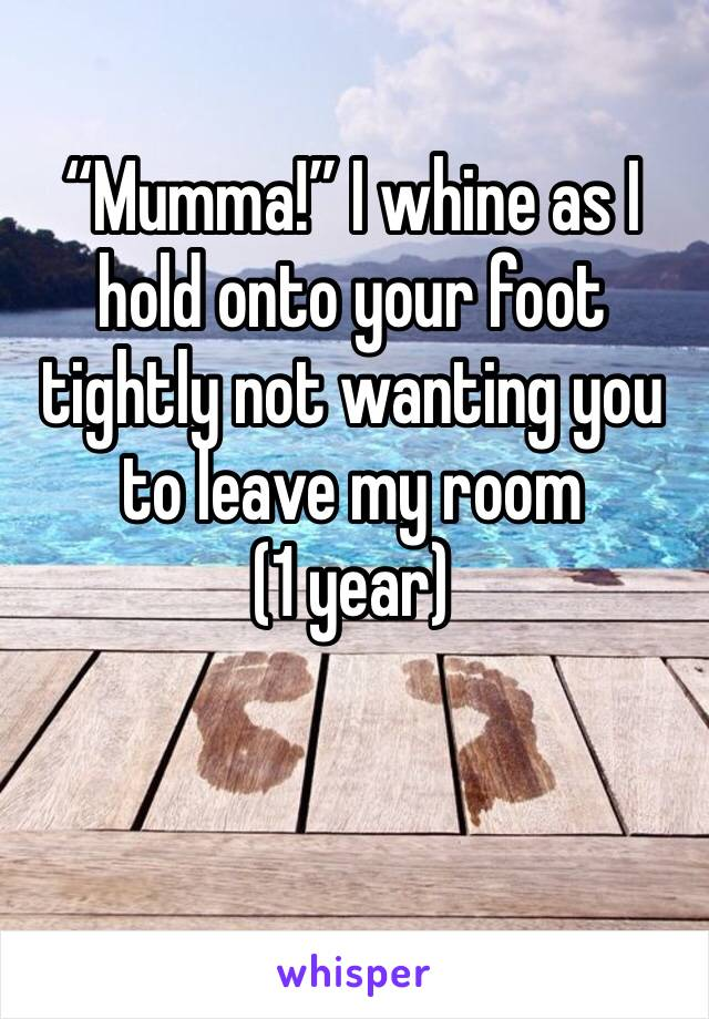 """""""Mumma!"""" I whine as I hold onto your foot tightly not wanting you to leave my room (1 year)"""