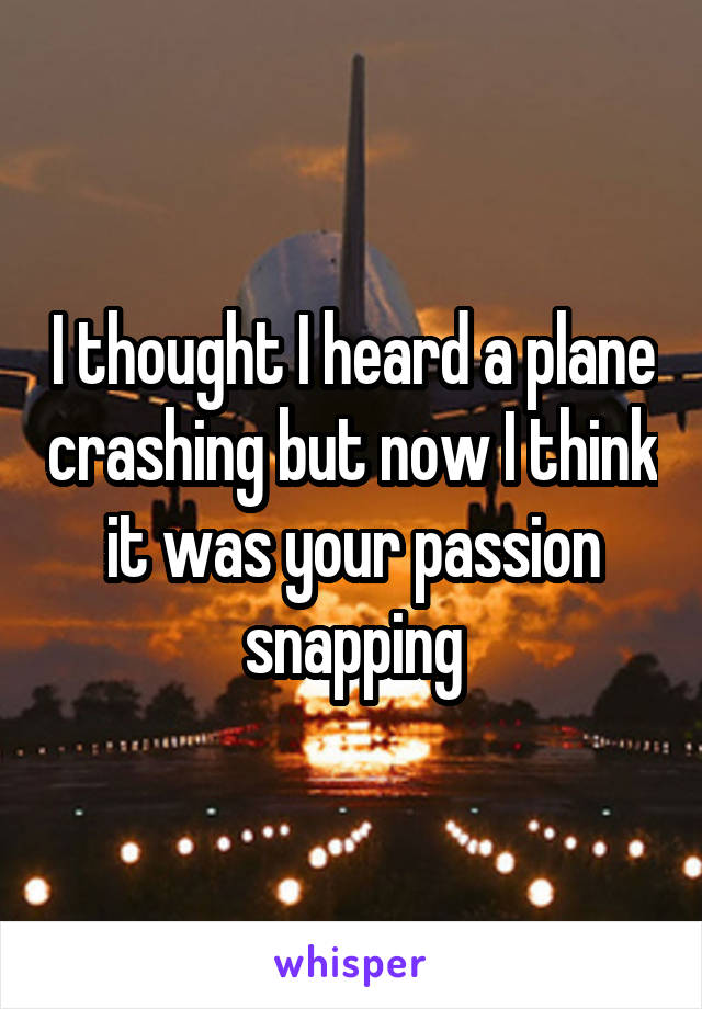 I thought I heard a plane crashing but now I think it was your passion snapping