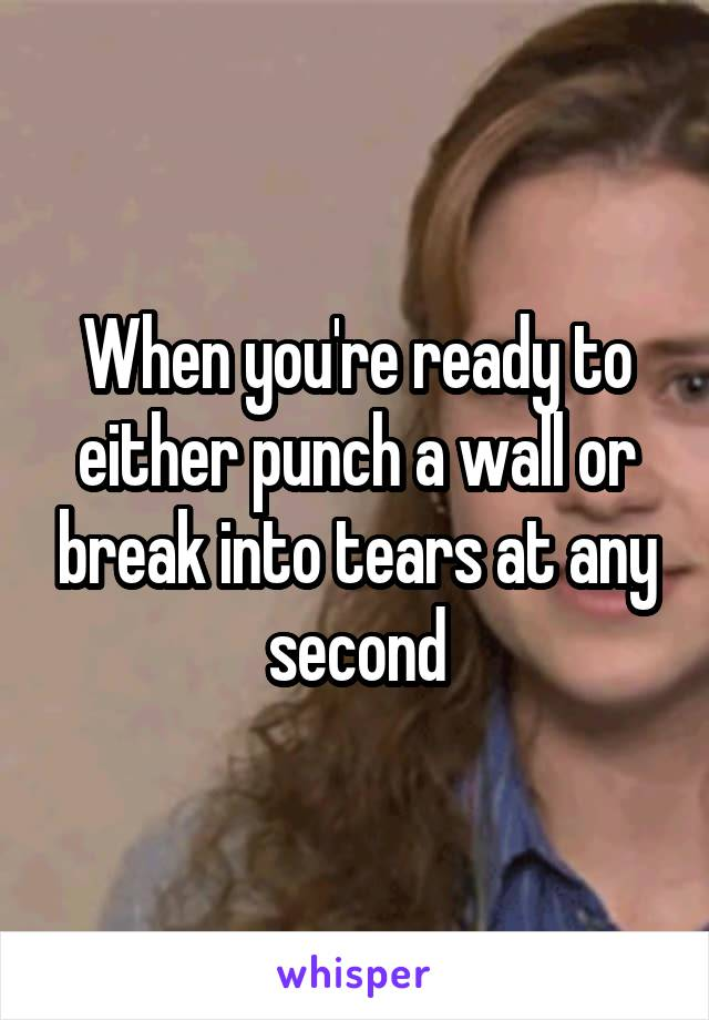 When you're ready to either punch a wall or break into tears at any second