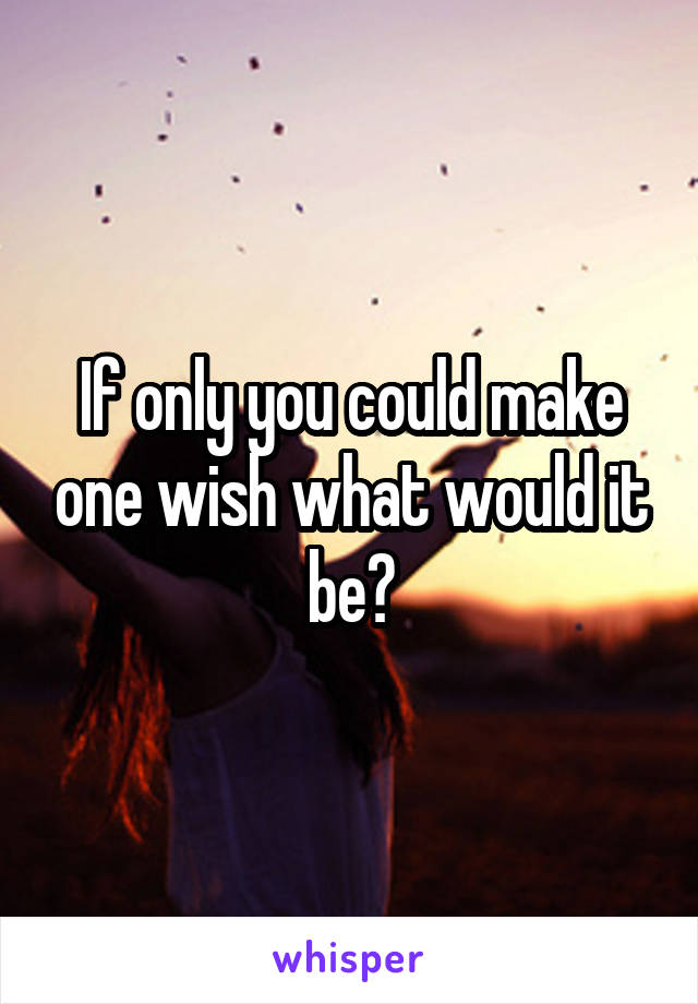 If only you could make one wish what would it be?