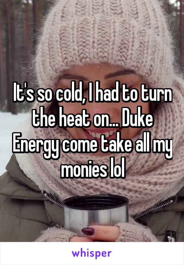 It's so cold, I had to turn the heat on... Duke Energy come take all my monies lol